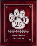 Rosewood Piano Finish Board with Raised Starphire Glass Achievement Awards