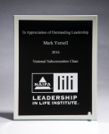 Glass Plaque with Black Center and Mirror Border Employee Awards
