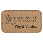 Leatherette Rectangle Name Badge With Magnet -Light Brown Name Badges | Plates