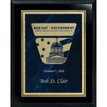 Blue Marble Florentine Plate on Ebony Board Recognition Plaques