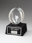 Chrome plated star in Aluminum Unisphere on Black Base Sales Awards